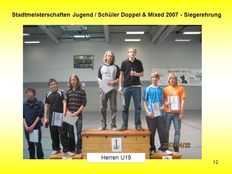12 Stadtmeisterschaften Jugend / Schüler Doppel & Mixed 2007 - Siegerehrung Herren U19
