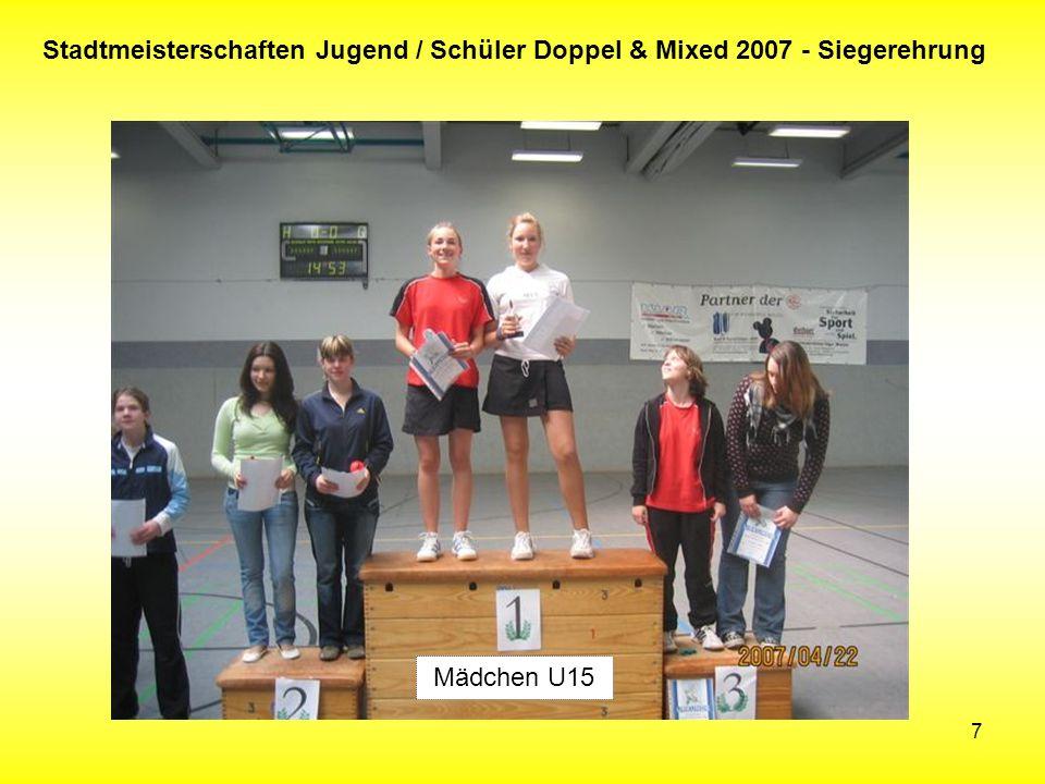 7 Stadtmeisterschaften Jugend / Schüler Doppel & Mixed 2007 - Siegerehrung Mädchen U15