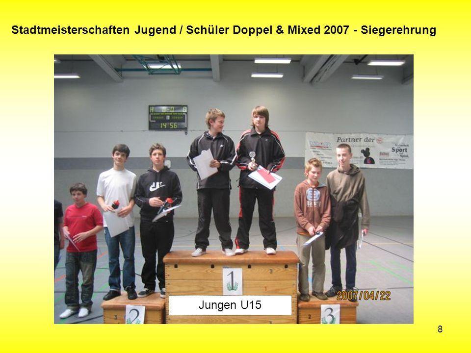 8 Stadtmeisterschaften Jugend / Schüler Doppel & Mixed 2007 - Siegerehrung Jungen U15