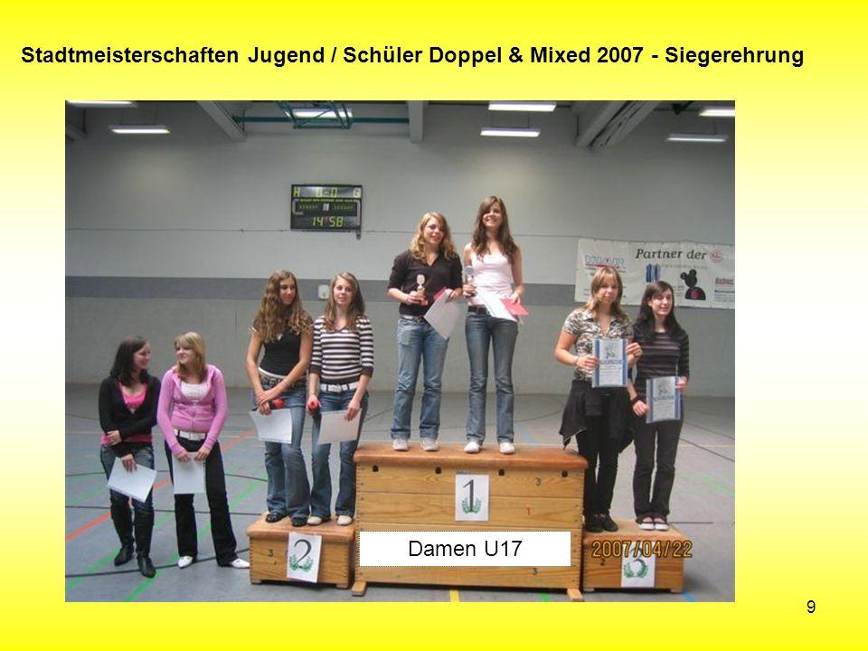 9 Stadtmeisterschaften Jugend / Schüler Doppel & Mixed 2007 - Siegerehrung Damen U17