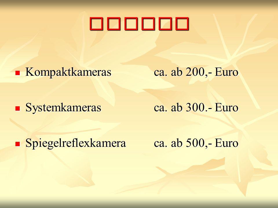 Preise Kompaktkamerasca.ab 200,- Euro Kompaktkamerasca.