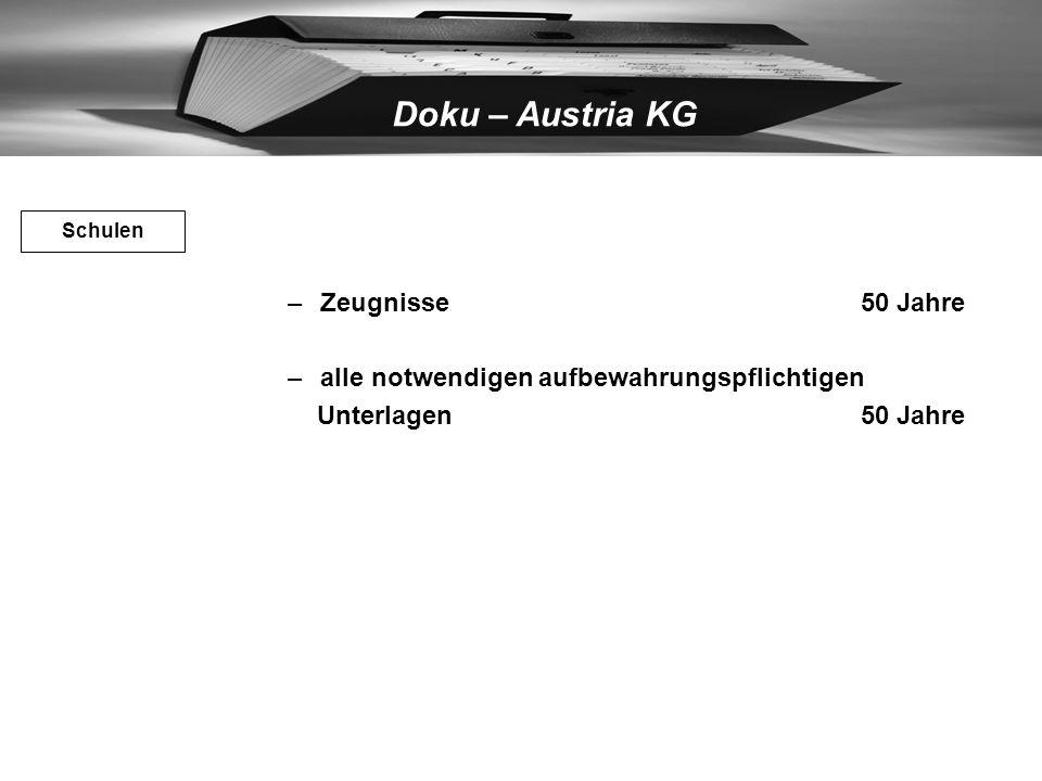 Doku – Austria KG –Bezug und Verwendung von Suchtgiften § 4 Suchtgiftverordnung 3 Jahre –Bestand an Suchtgiften in der ärztlichen Hausapotheke § 5 Suc