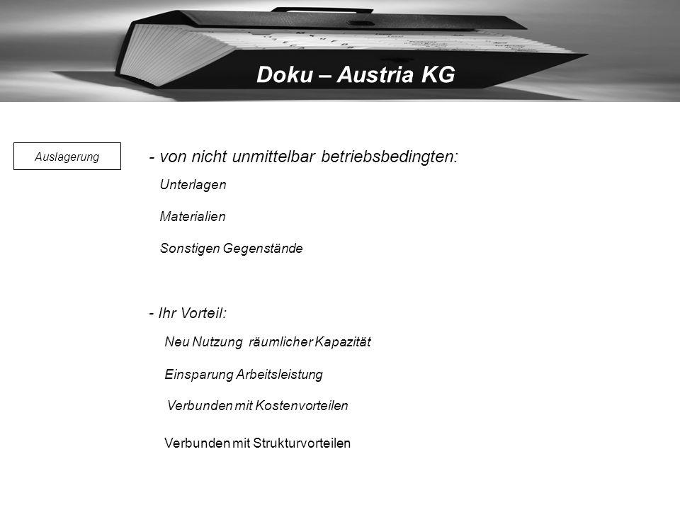 Doku – Austria KG Verbunden mit Strukturvorteilen - von nicht unmittelbar betriebsbedingten: Neu Nutzung räumlicher Kapazität Einsparung Arbeitsleistung Verbunden mit Kostenvorteilen Unterlagen Materialien Sonstigen Gegenstände - Ihr Vorteil: Auslagerung