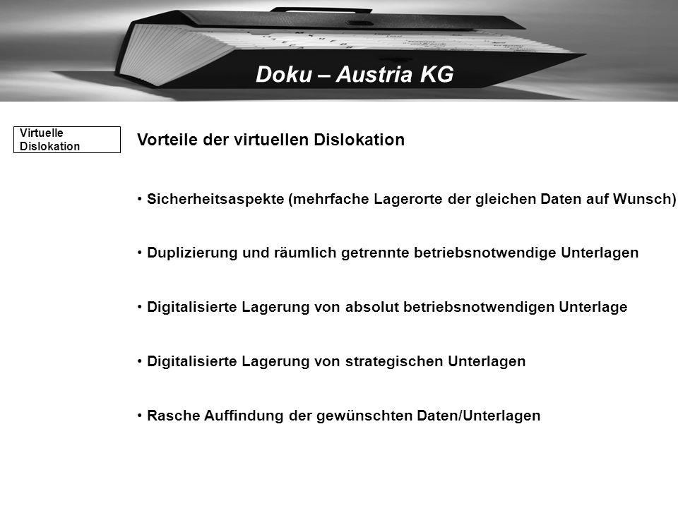 Doku – Austria KG Freier Raumbedarf entsteht für: qualifizierten betrieblichen Nutzung für Expansionsmöglichkeiten Kein Übersiedlungsaufwand bei Stand