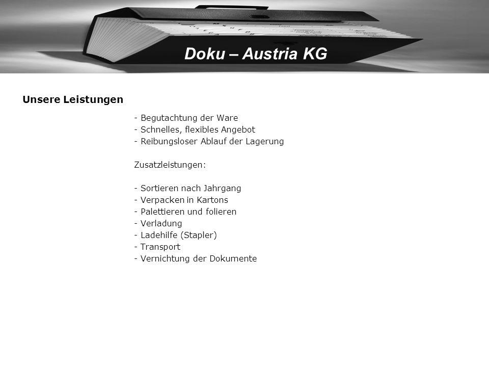 Doku – Austria KG Vorteile der virtuellen Dislokation Sicherheitsaspekte (mehrfache Lagerorte der gleichen Daten auf Wunsch) Duplizierung und räumlich