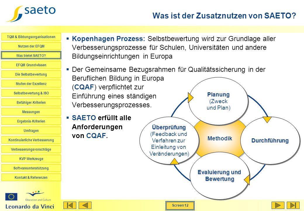 TQM & Bildungsorganisationen Nutzen der EFQM Was bietet SAETO? EFQM Grundwissen Die Selbstbewertung Stufen der Exzellenz Selbstbewertung & ISO Befähig