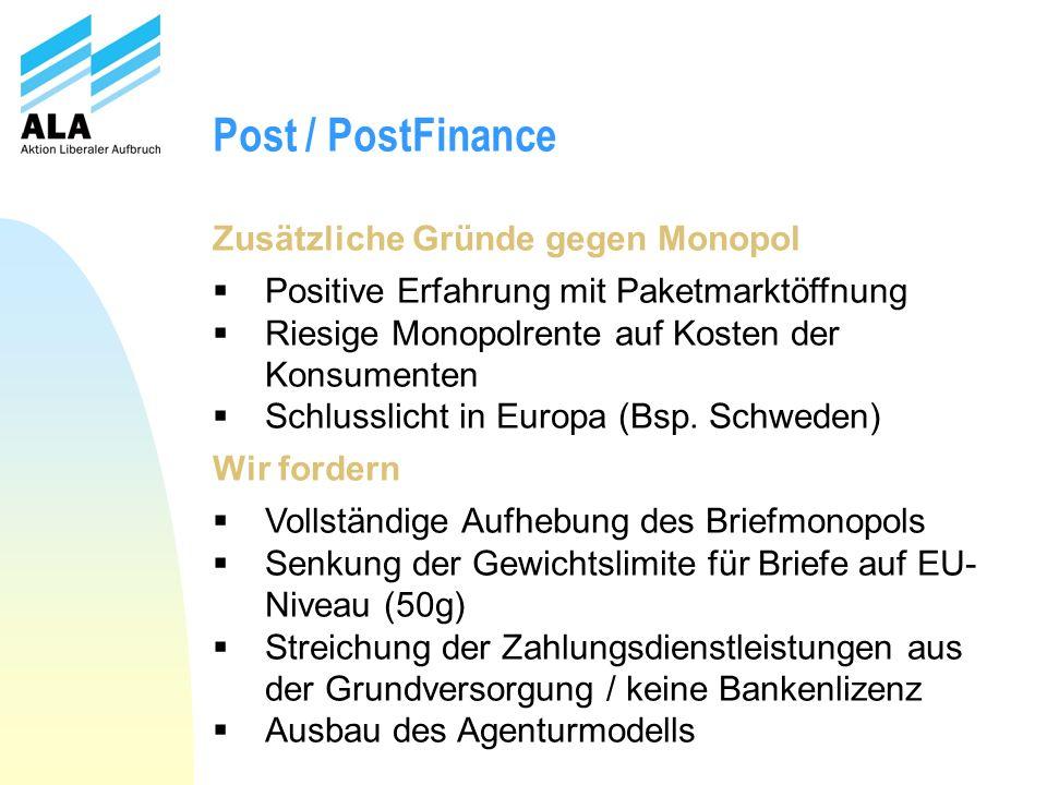 Post / PostFinance Zusätzliche Gründe gegen Monopol Positive Erfahrung mit Paketmarktöffnung Riesige Monopolrente auf Kosten der Konsumenten Schlussli