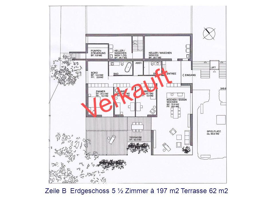 Zeile A Erdgeschoss 5 ½ Zimmer à 197m2 Terrasse 56 m2 Verkauft