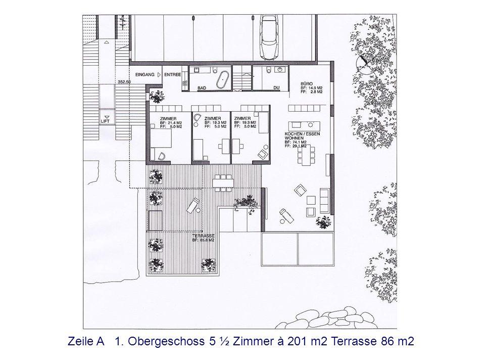 Zeile B Erdgeschoss 5 ½ Zimmer à 197 m2 Terrasse 62 m2 Verkauft