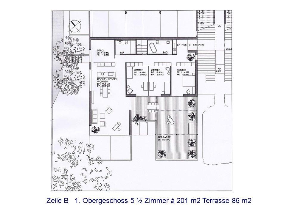 Zeile A 1. Obergeschoss 5 ½ Zimmer à 201 m2 Terrasse 86 m2
