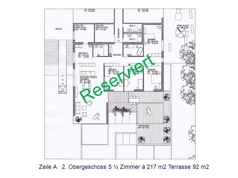 Zeile B 1. Obergeschoss 5 ½ Zimmer à 201 m2 Terrasse 86 m2