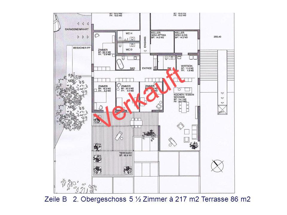Zeile A 2. Obergeschoss 5 ½ Zimmer à 217 m2 Terrasse 92 m2 Reserviert