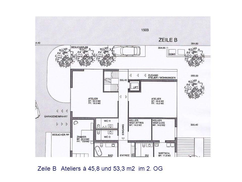 Zeile A Ateliers à 45,8 und 53,3 m2 im 2. OG