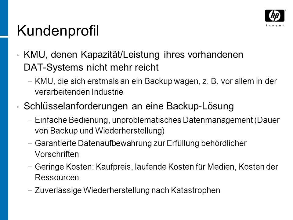 KMU, denen Kapazität/Leistung ihres vorhandenen DAT-Systems nicht mehr reicht KMU, die sich erstmals an ein Backup wagen, z.