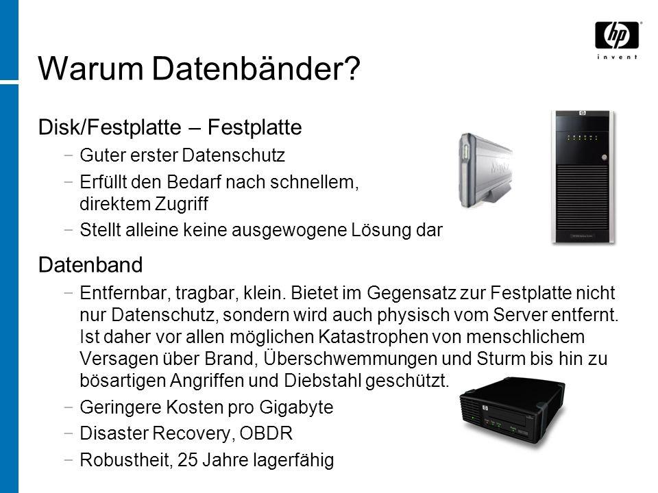 Disk/Festplatte – Festplatte Guter erster Datenschutz Erfüllt den Bedarf nach schnellem, direktem Zugriff Stellt alleine keine ausgewogene Lösung dar Datenband Entfernbar, tragbar, klein.