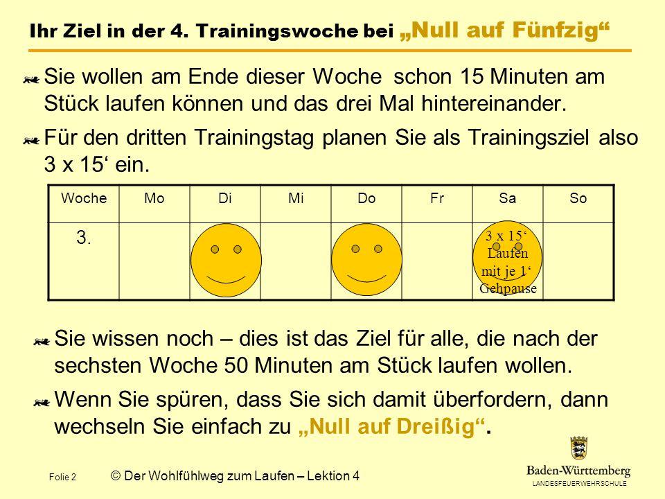 LANDESFEUERWEHRSCHULE Folie 2 © Der Wohlfühlweg zum Laufen – Lektion 4 Ihr Ziel in der 4.