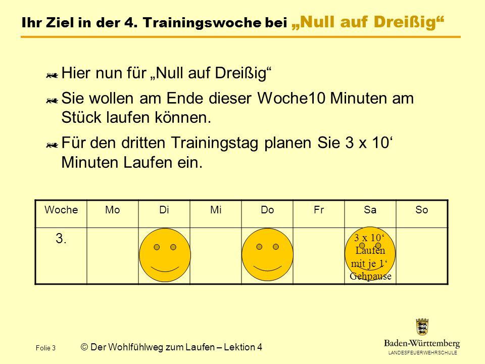 LANDESFEUERWEHRSCHULE Folie 3 © Der Wohlfühlweg zum Laufen – Lektion 4 Ihr Ziel in der 4.
