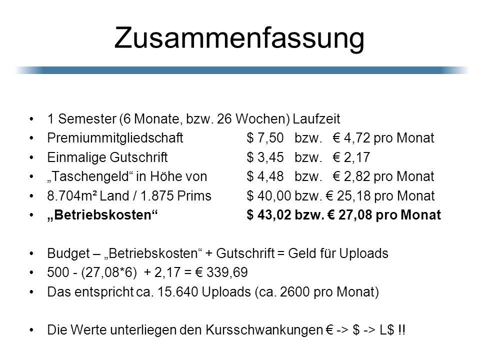 Zusammenfassung 1 Semester (6 Monate, bzw. 26 Wochen) Laufzeit Premiummitgliedschaft $ 7,50 bzw. 4,72 pro Monat Einmalige Gutschrift $ 3,45 bzw. 2,17