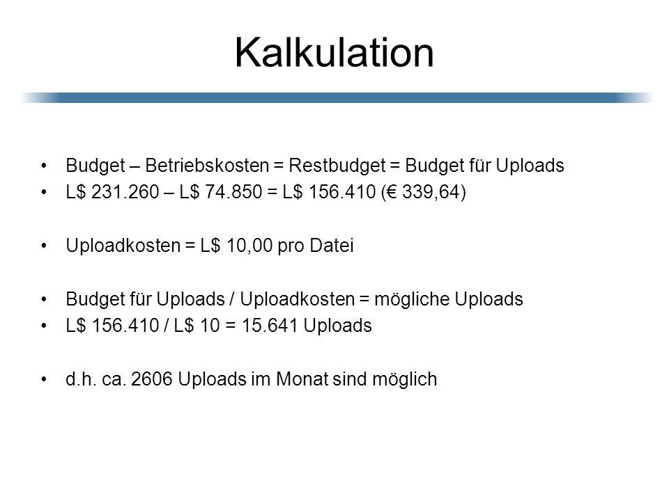 Kalkulation Budget – Betriebskosten = Restbudget = Budget für Uploads L$ 231.260 – L$ 74.850 = L$ 156.410 ( 339,64) Uploadkosten = L$ 10,00 pro Datei