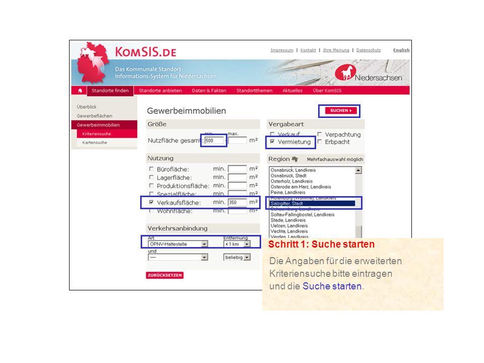 Schritt 1: Suche starten Die Angaben für die erweiterten Kriteriensuche bitte eintragen und die Suche starten.