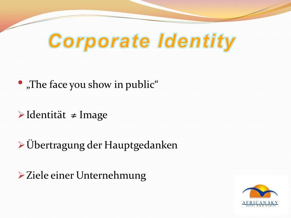 The face you show in public Identität Image Übertragung der Hauptgedanken Ziele einer Unternehmung
