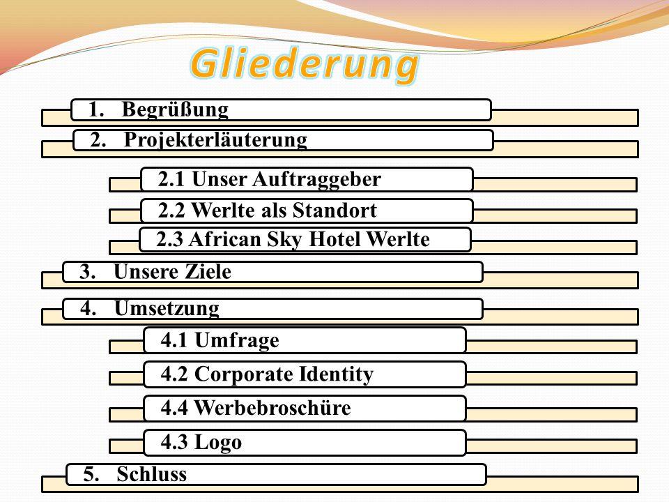 3. Unsere Ziele 5. Schluss4. Umsetzung1. Begrüßung2. Projekterläuterung 2.1 Unser Auftraggeber2.2 Werlte als Standort2.3 African Sky Hotel Werlte 4.1