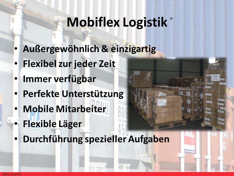 Ausgelagerte Aufgaben Kommissionierung Verpackung Transport Betreuung & Begleitung der Ware Notwendiges Handling beim Kunden Einlagerung Inventur Last- Minute- Services( MOBIFLEX- Logistik ) ©by insalvo ®