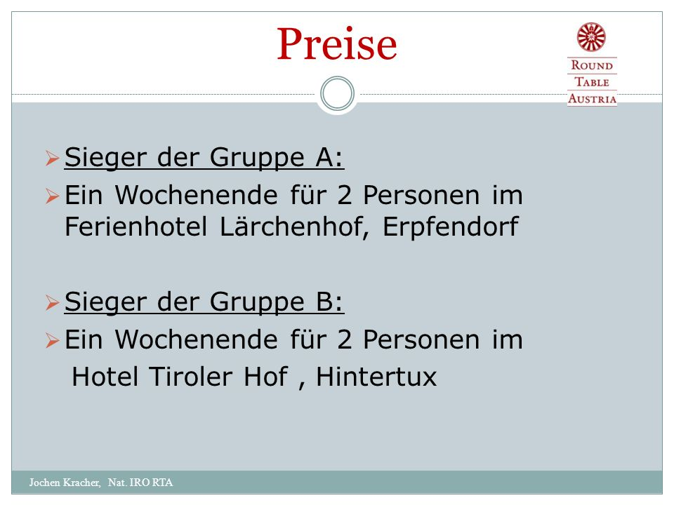 Preise Jochen Kracher, Nat.