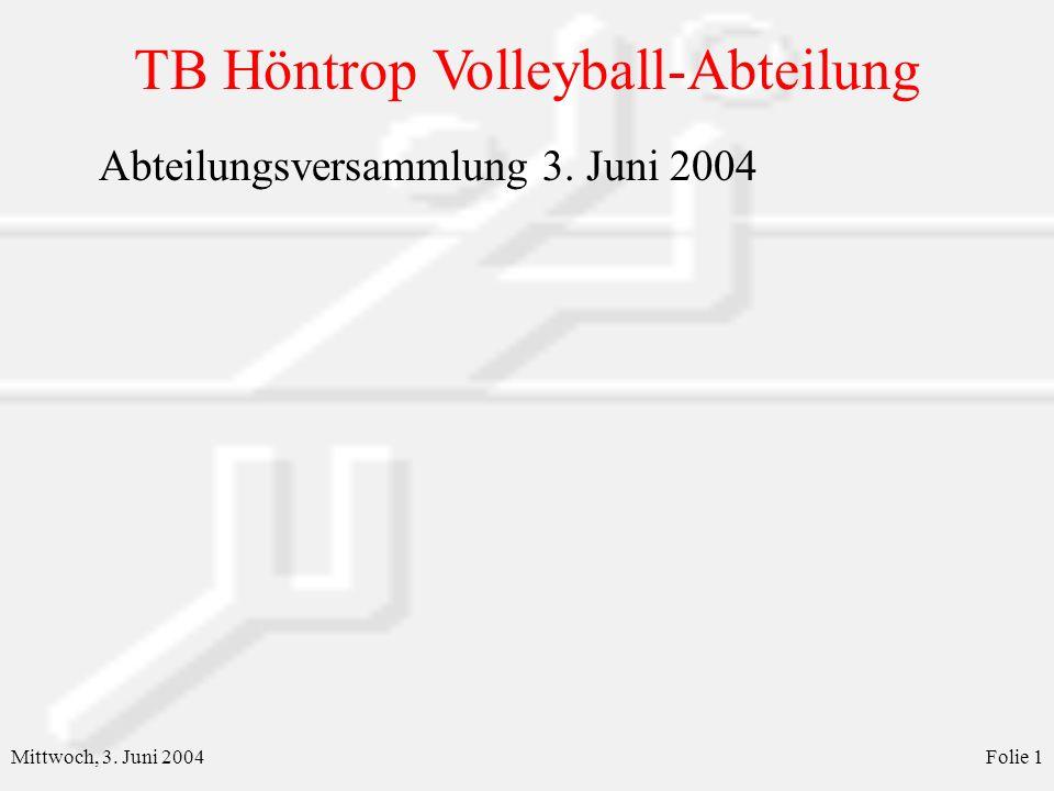 TB Höntrop Volleyball-Abteilung Mittwoch, 3. Juni 2004Folie 1 Abteilungsversammlung 3. Juni 2004
