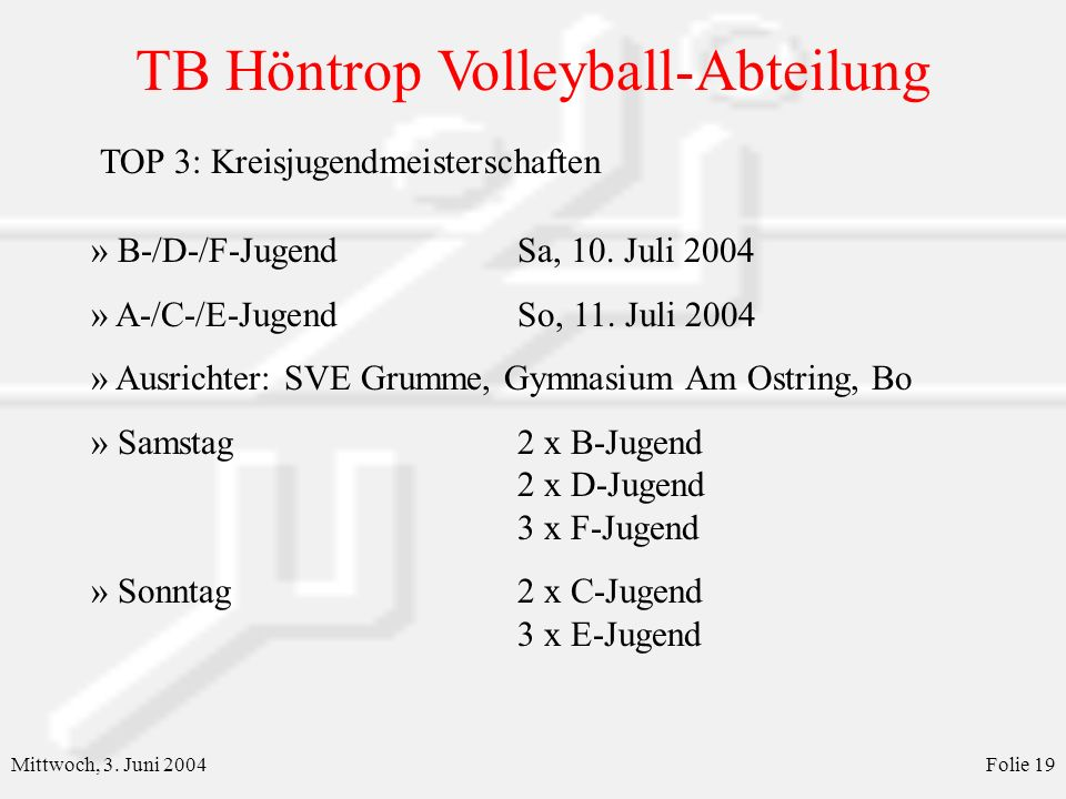 TB Höntrop Volleyball-Abteilung Mittwoch, 3.Juni 2004Folie 19 » B-/D-/F-JugendSa, 10.