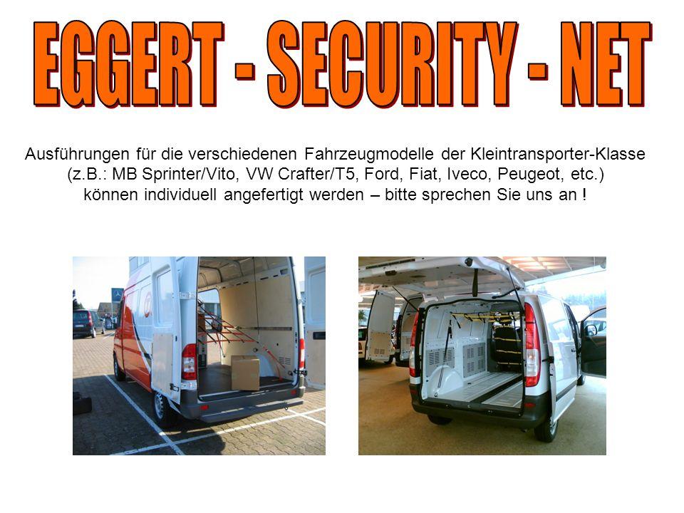 Ausführungen für die verschiedenen Fahrzeugmodelle der Kleintransporter-Klasse (z.B.: MB Sprinter/Vito, VW Crafter/T5, Ford, Fiat, Iveco, Peugeot, etc