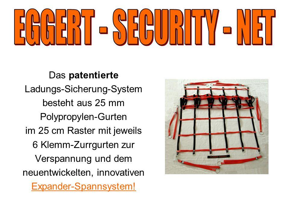Das patentierte Ladungs-Sicherung-System besteht aus 25 mm Polypropylen-Gurten im 25 cm Raster mit jeweils 6 Klemm-Zurrgurten zur Verspannung und dem