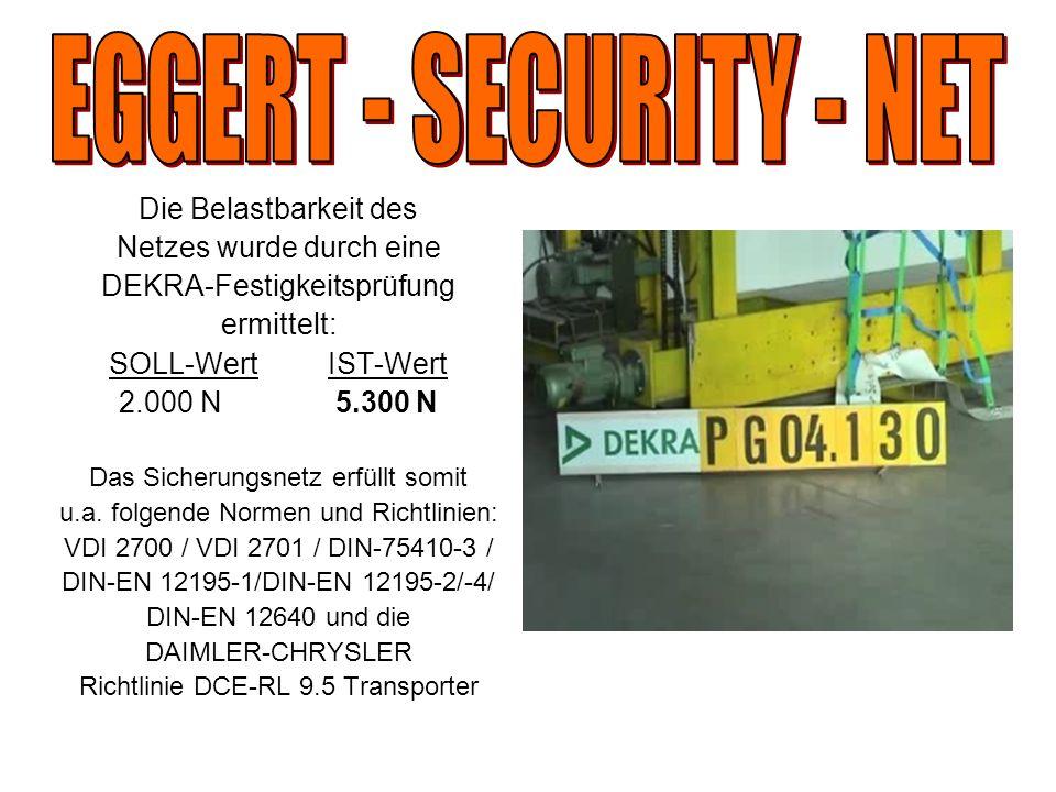Die Belastbarkeit des Netzes wurde durch eine DEKRA-Festigkeitsprüfung ermittelt: SOLL-Wert IST-Wert 2.000 N 5.300 N Das Sicherungsnetz erfüllt somit