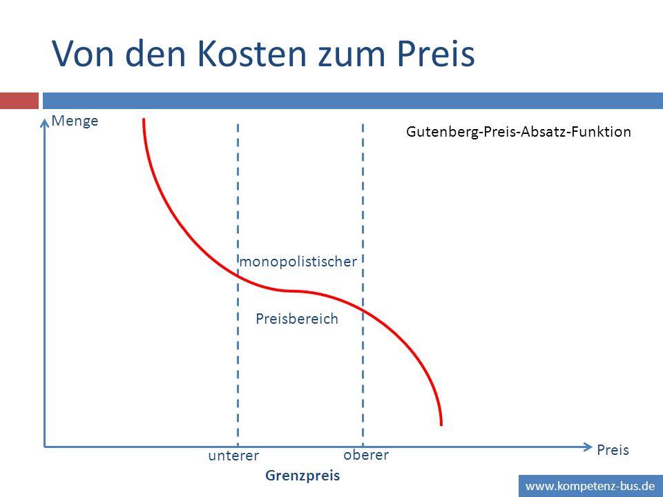 www.kompetenz-bus.de Von den Kosten zum Preis Menge Preis oberer unterer Grenzpreis monopolistischer Preisbereich Gutenberg-Preis-Absatz-Funktion