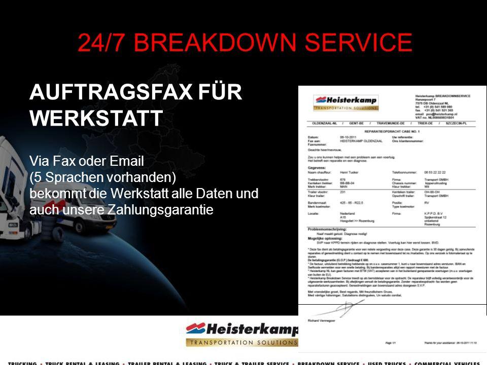 CASE E-MAIL NACH FERTIGSTELLUNG 24/7 BREAKDOWN SERVICE Kunde / Auftraggeber erhält ausführliches Protokoll