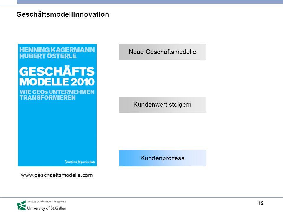 12 Geschäftsmodellinnovation www.geschaeftsmodelle.com Neue Geschäftsmodelle Kundenwert steigern Kundenprozess