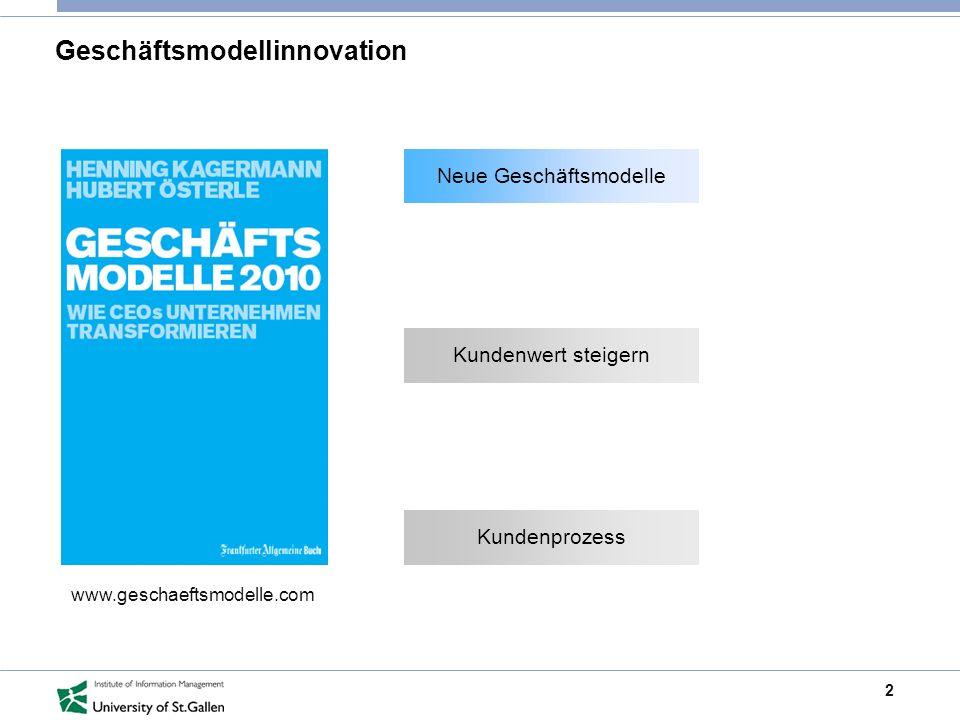 2 Geschäftsmodellinnovation www.geschaeftsmodelle.com Neue Geschäftsmodelle Kundenwert steigern Neue Geschäftsmodelle Kundenprozess