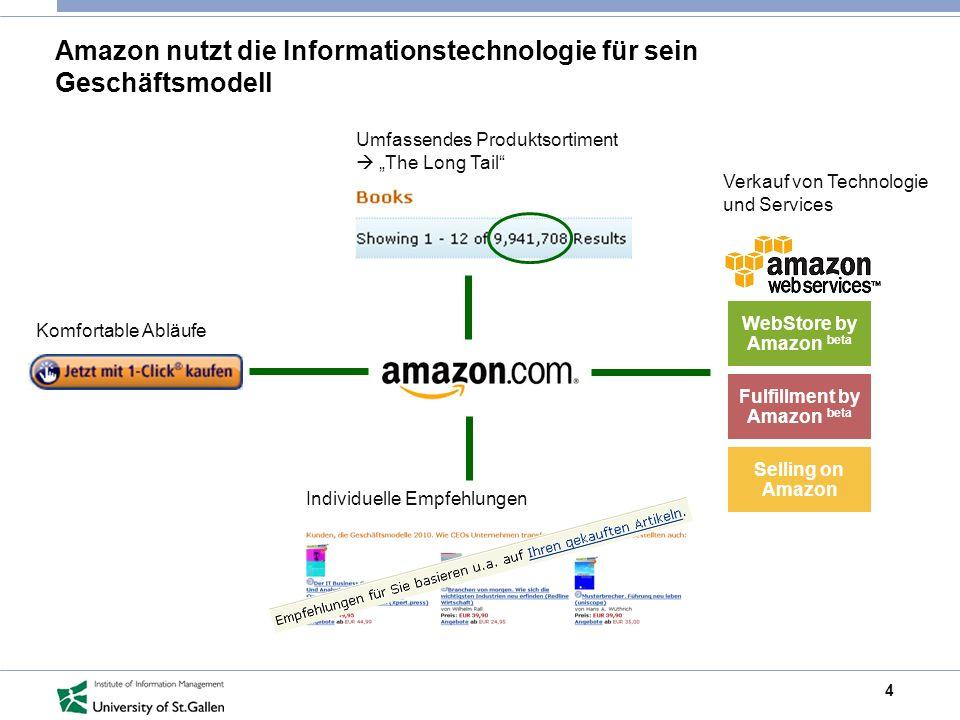 4 Amazon nutzt die Informationstechnologie für sein Geschäftsmodell Umfassendes Produktsortiment The Long Tail Individuelle Empfehlungen Komfortable A