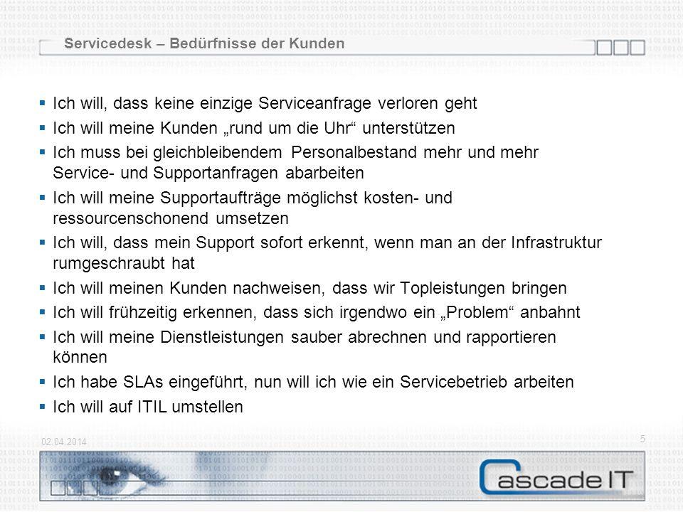 Anmerkung Die Anpassung aller Servicedesk-Prozesse wird im Foliensatz nur mit einem Beispiel aufgezeigt 02.04.2014 26