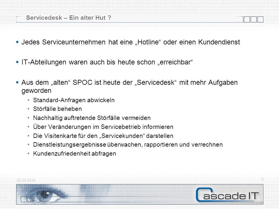 Baustein Service- bzw. Leistungskatalog 02.04.2014 17