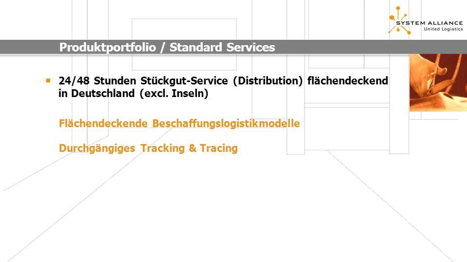 Produktportfolio / Standard Services 24/48 Stunden Stückgut-Service (Distribution) flächendeckend in Deutschland (excl. Inseln) Durchgängiges Tracking