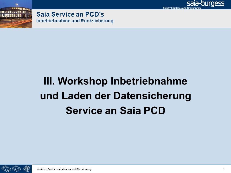 1 Workshop Service Inbetriebnahme und Rücksicherung Saia Service an PCD's Inbetriebnahme und Rücksicherung III. Workshop Inbetriebnahme und Laden der