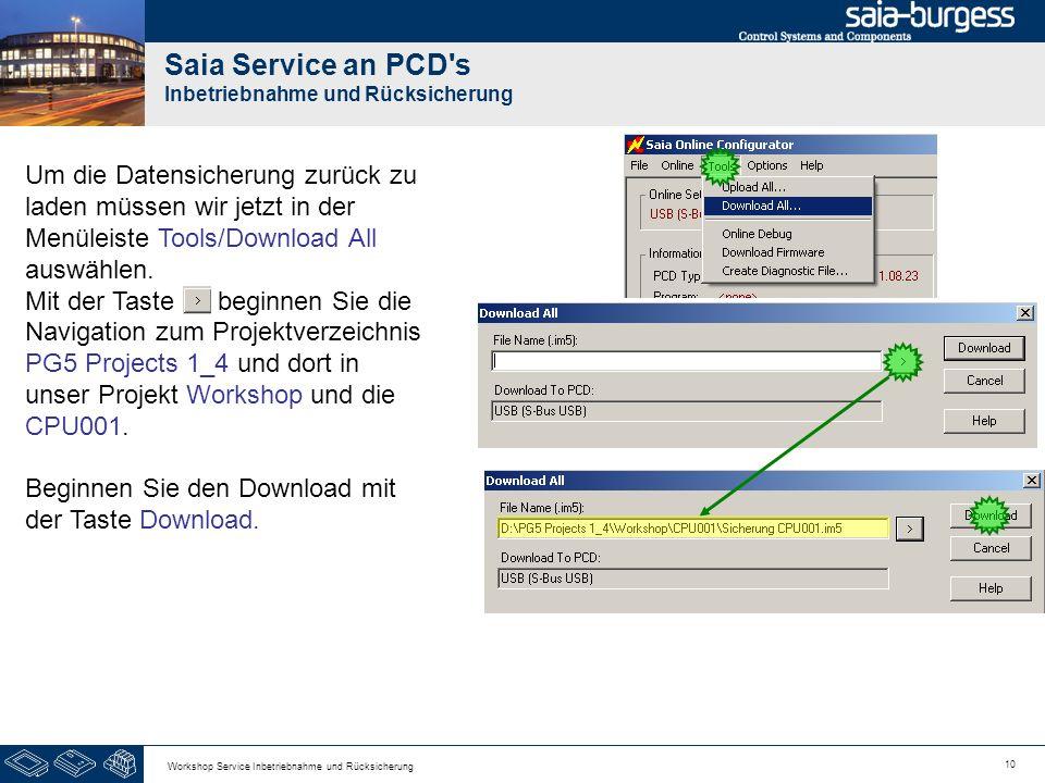 10 Workshop Service Inbetriebnahme und Rücksicherung Saia Service an PCD s Inbetriebnahme und Rücksicherung Um die Datensicherung zurück zu laden müssen wir jetzt in der Menüleiste Tools/Download All auswählen.