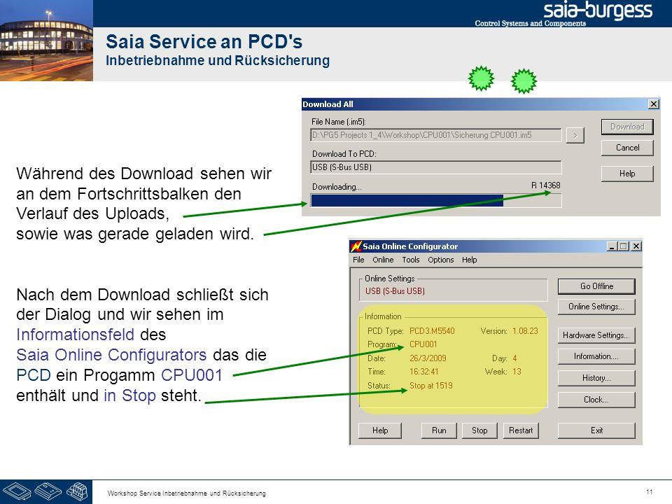 11 Workshop Service Inbetriebnahme und Rücksicherung Saia Service an PCD s Inbetriebnahme und Rücksicherung Während des Download sehen wir an dem Fortschrittsbalken den Verlauf des Uploads, sowie was gerade geladen wird.