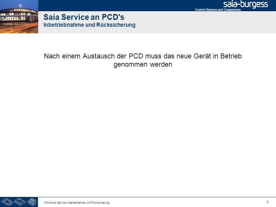 2 Workshop Service Inbetriebnahme und Rücksicherung Saia Service an PCD s Inbetriebnahme und Rücksicherung Nach einem Austausch der PCD muss das neue Gerät in Betrieb genommen werden