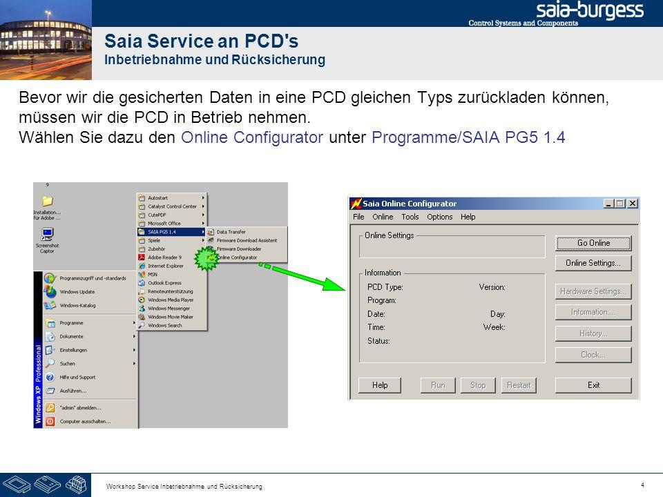 4 Workshop Service Inbetriebnahme und Rücksicherung Saia Service an PCD s Inbetriebnahme und Rücksicherung Bevor wir die gesicherten Daten in eine PCD gleichen Typs zurückladen können, müssen wir die PCD in Betrieb nehmen.