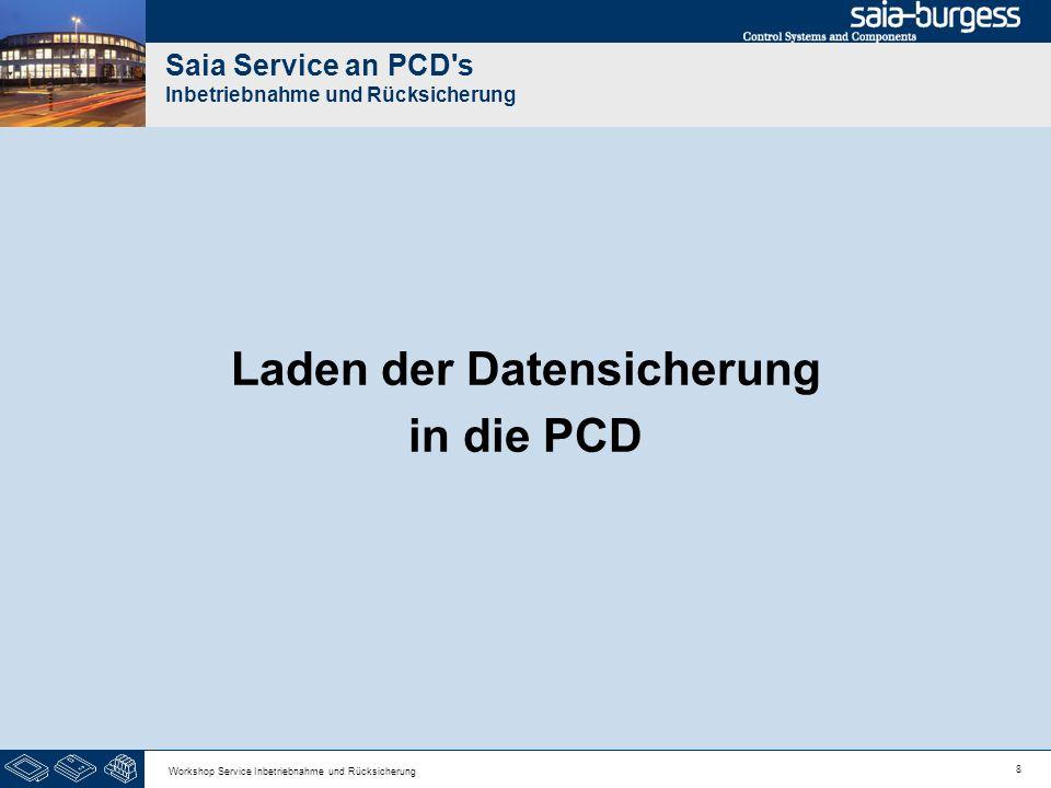8 Workshop Service Inbetriebnahme und Rücksicherung Saia Service an PCD's Inbetriebnahme und Rücksicherung Laden der Datensicherung in die PCD
