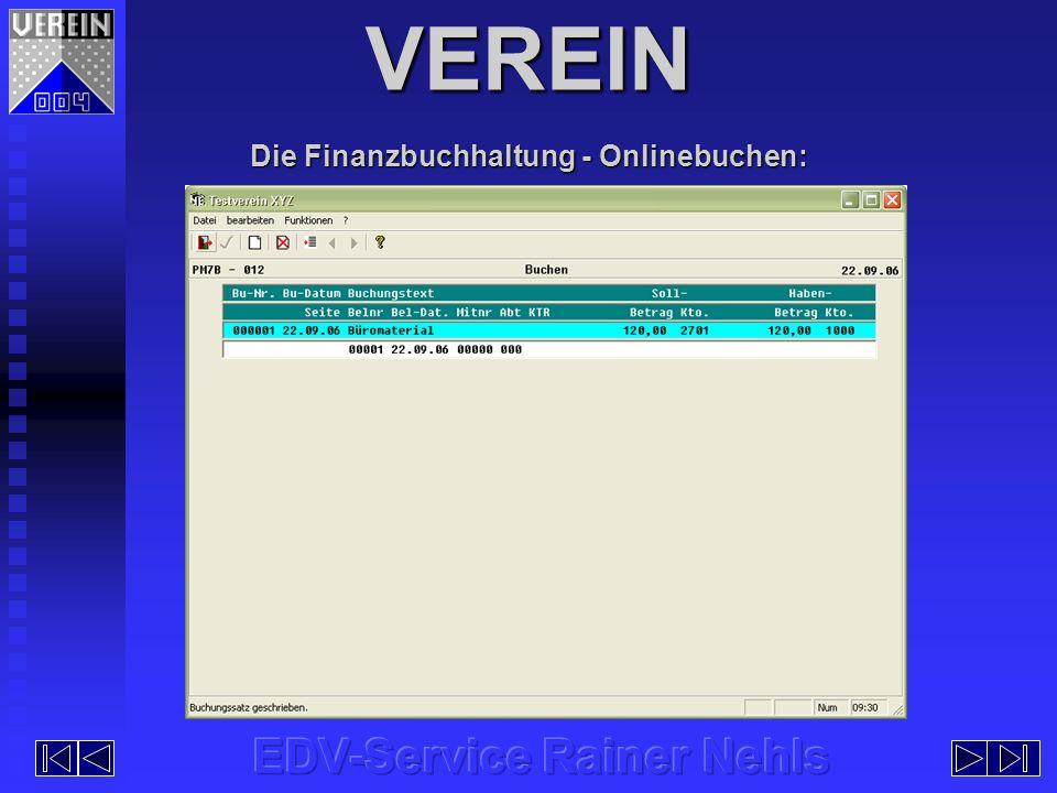 Die Finanzbuchhaltung - Onlinebuchen: VEREIN