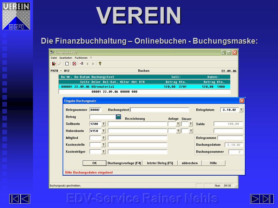 VEREIN Die Finanzbuchhaltung – Onlinebuchen - Buchungsmaske: