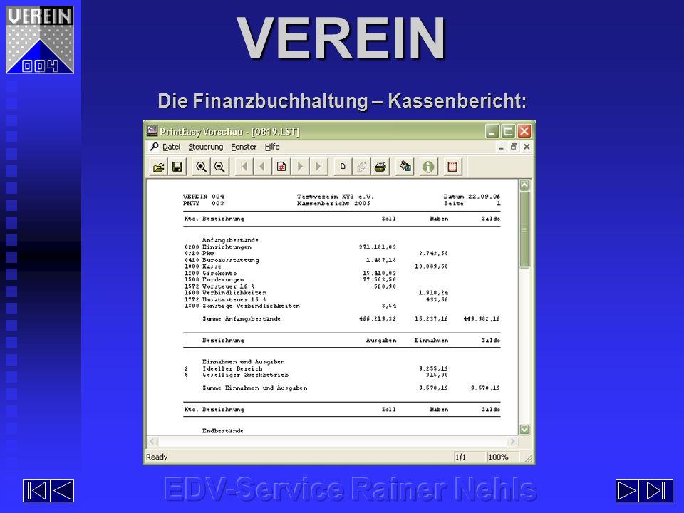 VEREIN Die Finanzbuchhaltung – Kassenbericht: